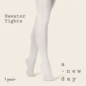 NWOT Ivory Cable Sweater Tights